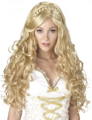 peruca encaracolada deusa mulher loira