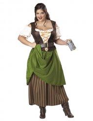 Disfarce taberneira medieval com corpete mulher