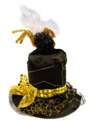 Chapéu teia de aranha preto e dourado adulto