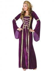 Disfarce princesa medieval dourado e lilás mulher