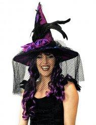 Chapéu acetinado lilás com véu e penas adulto Halloween