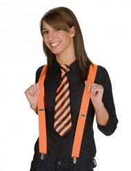 Gravata às riscas cor de laranja e preta