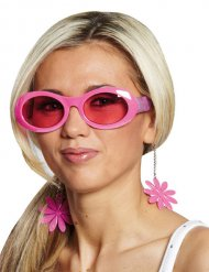 Óculos com flores disco cor-de-rosa