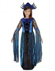 Disfarce rainha das aranhas preto e azul menina Halloween