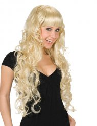 Peruca cabelos compridos loiros com franja mulher