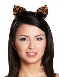 Bandolete orelhas de leoprado mulher-preto-castanho