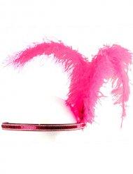 Bandolete com penas Charleston cor-de-rosa