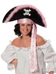 Chapéu pirata rosa e preto - mulher