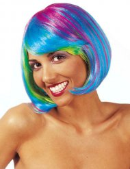 Peruca curta colorida fluo mulher