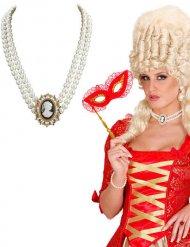 Colar curto pérolas barroco mulher