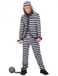 Disfarce prisioneiro às riscas pretas e brancas criança