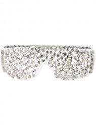 Óculos disco com brilhantes brancos e prateados