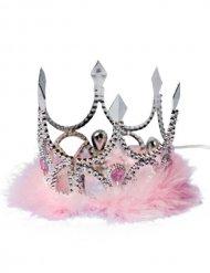 Coroa de princesa prateada e cor-de-rosa