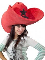 Chapéu gigante cowboy adulto vermelho
