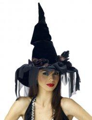 Chapéu preto com véu bruxa Halloween