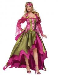 Disfarce fada Idade-Média mulher verde e cor-de-rosa