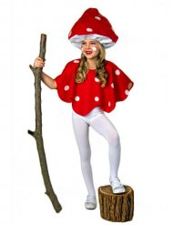 Disfarce Cogumelo vermelho e branco criança
