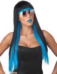 Peruca cabelos compridos pretos e madeixas azuis