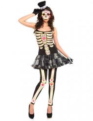 Disfarce esqueleto vestido mulher Dia de los muertos