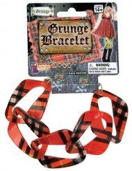 Bracelete vermelho preto punk