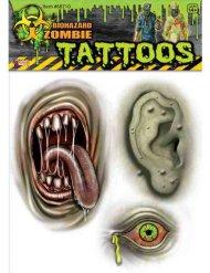 Tatuagens zombie mutante verde Halloween