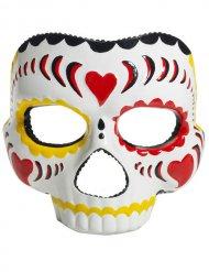 Máscara Dia dos Mortos Halloween branca-colorida
