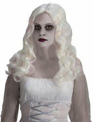 Peruca de fantasma de cabelos longos brancos Halloween