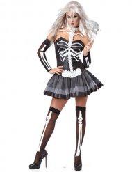 Disfarce mulher esqueleto sexy preto e branco