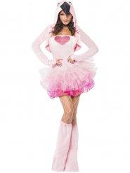 Disfarce flamingo rosa sexy mulher
