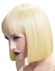 Peruca curta loira platinada com franja luxo mulher