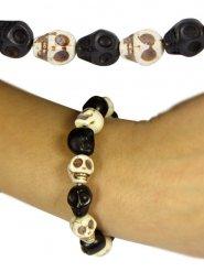 Bracelete caveira preta e branca adulto 18 cm