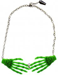 Colar mãos de esqueleto verde adulto