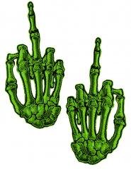 2 Adesivos de tecido mãos de esqueleto verdes