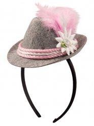 Mini chapéu bávaro cinzento e rosa mulher