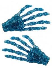 2 travessões cabelo mão de esqueleto purpurinas azuis 7 cm