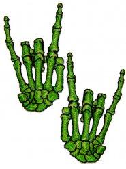 2 adesivo a coser mãos verdes esqueleto chifres