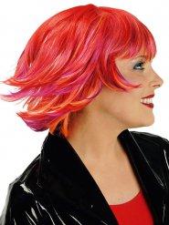 Peruca curta vermelha com madeixas cor de laranja e cor-de-rosa mulher
