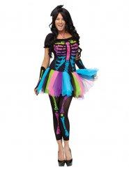 Disfarce esqueleto colorido mulher para Halloween