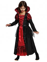 Disfarce vampira preto e vermelho menina