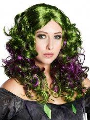 Peruca de bruxa verde e lilás mulher Halloween