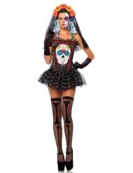 Corpete esqueleto colorido mulher Dia de los muertos Halloween