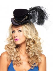 Mini chapéu alto com véu e penas adulto Steampunk
