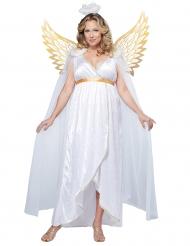 Disfarce anjo branco e dourado para mulher tamanho grande