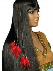 Bandolete índia com penas vermelhas adulto