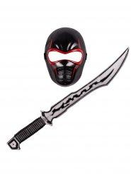 Kit Ninja criança vermelho e preto