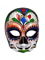 Meia máscara caveira Dia dos Mortos adulto