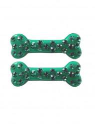 2 travessões cabelo ossos strass verde 6 cm