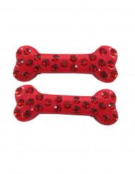 2 travessões cabelo ossos strass vermelhos 6 cm