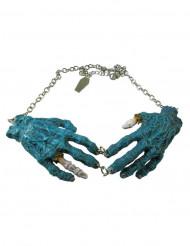 Colar gótico corrente pendente mãos de zombie azul