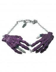 Colar gótico corrente pendente mãos de zombie roxo